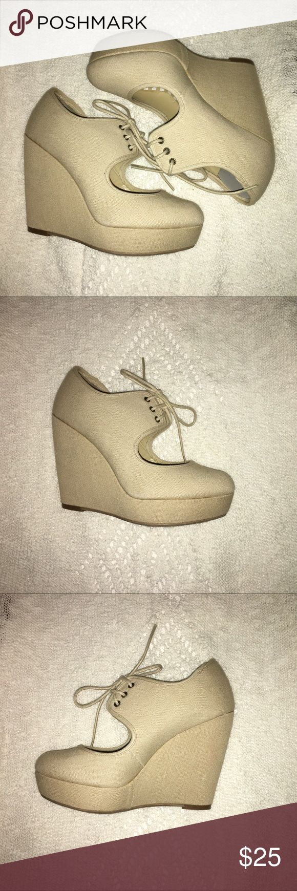 Tan wedge shoes Tan wedge shoes that tie up. Never worn. Offered accepted!! Call It Spring Shoes Wedges