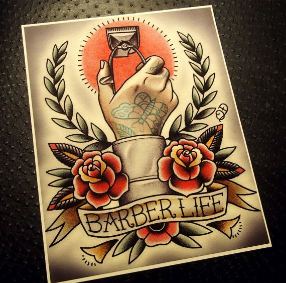 Quyen Dinh Barber Life Tattoo Flash by ParlorTattooPrints on Etsy, $26.00