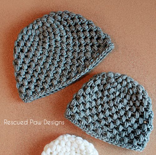 Crochet Puff Hat Pattern - Baby & Child Sizes - Rescued Paw Designs