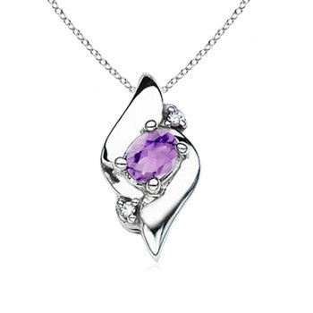 Angara Cushion Amethyst Solitaire Pendant with Trio Diamonds FzCGUD