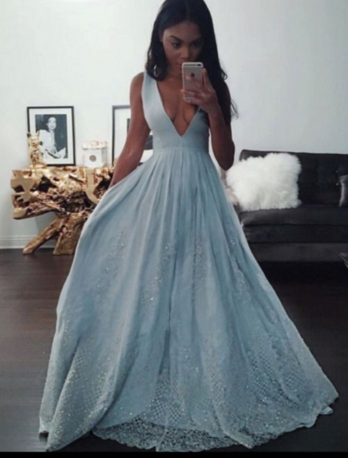 blue v neck sequin long prom dresses 2017, fashion prom dresses for teens, dress for prom