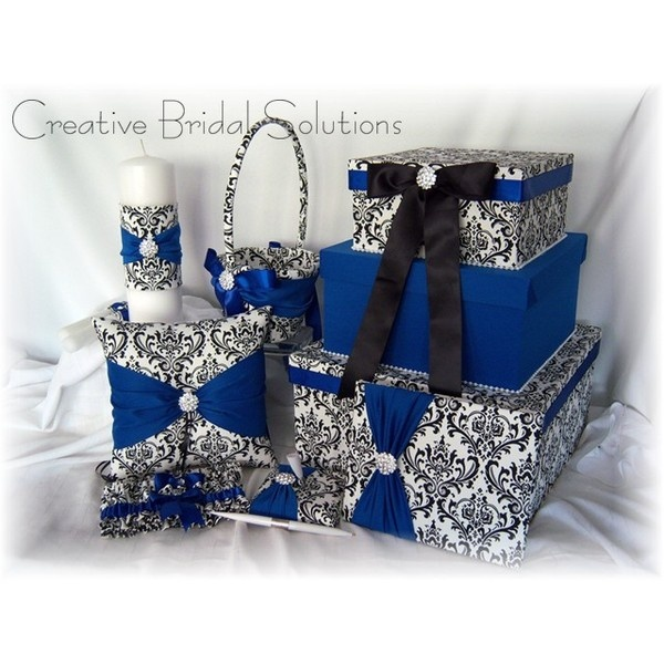 Black And White Madison Damask Wedding 7pc Set Royal Blue Liked On Polyvore