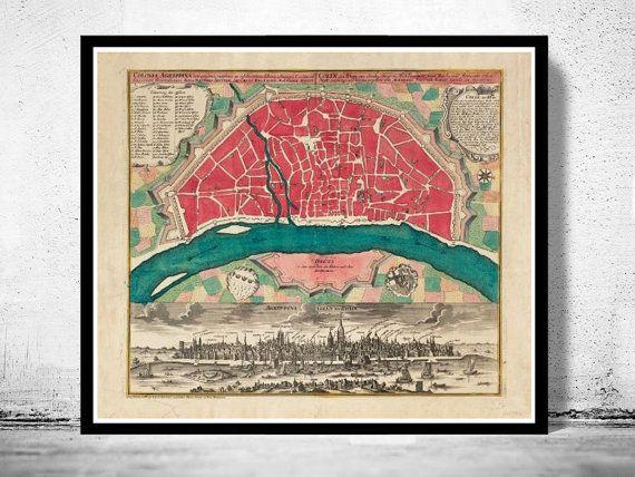 Alte Karte von Koln Köln 1740