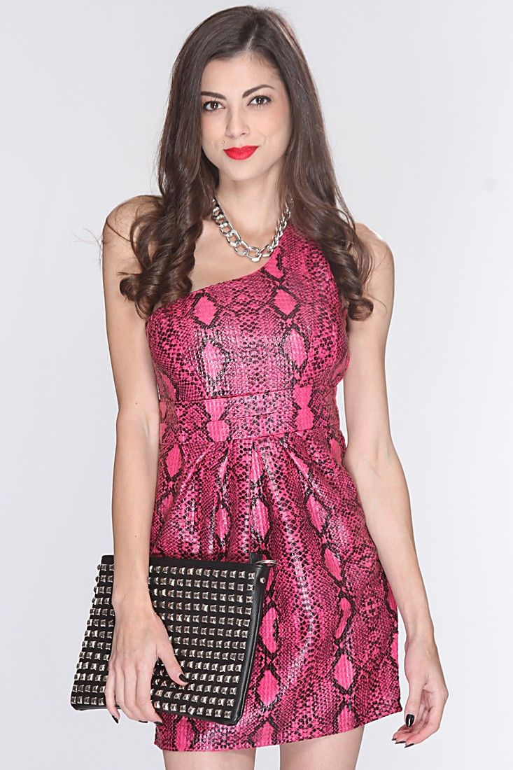 Fuchsia Snake One Shoulder Texture Fabric Glossy Finish Sexy Dress 91