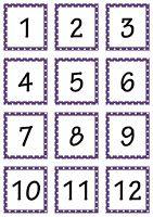 De juf deelt...: Klasmateriaal: kapstoknummers paars