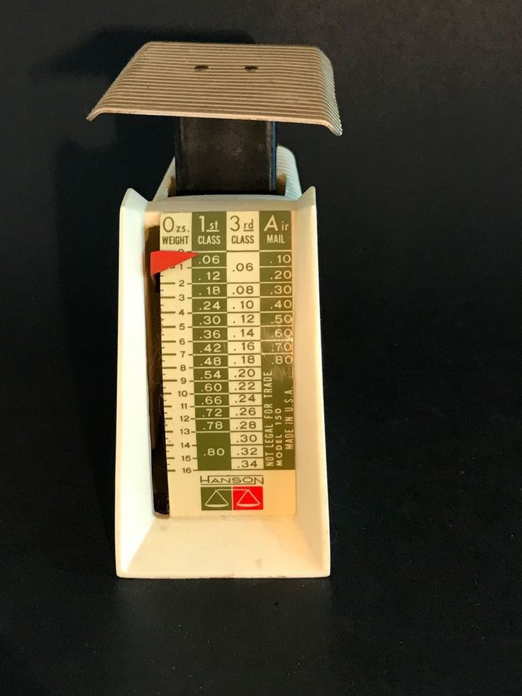 Vintage Hanson Postal Scale, Weight And Pricing For 1st Class 3rd Class Airmail