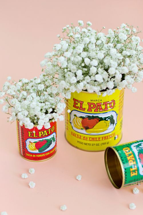 DIY Ideas | Look for fun labels on cans like these salsa cans from a Hispanic Market to turn into colorful and fun vases for your table!