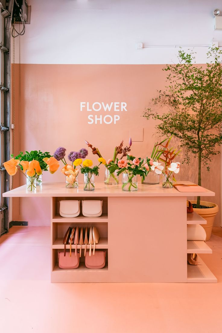 Mansur Gavriel's flower shop in their all pink Soho store