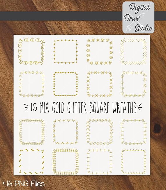 16 Gold Glitter Square Wreaths Clip Art  Square Hand Drawn