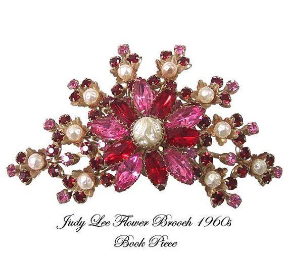 Vintage Judy Lee Flower Pin Brooch Book Piece by AntiquingOnLine, $72.00