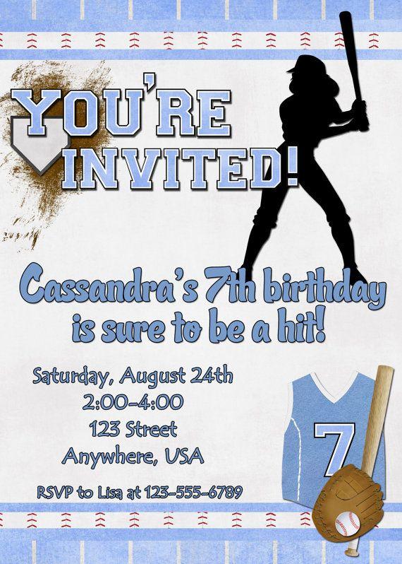 Softball Birthday Party Invitation by DecidedlyDigital on Etsy, $15.00