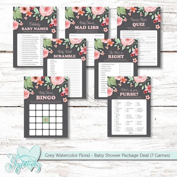 INSTANT DOWNLOAD!!! Grey Watercolor Floral - Baby Shower Games' Package Deal by Joytations on ETSY.