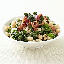 Kale with Bacon and Cannellini Beans - up the red pepper flakes, double the vinegar & put over rice, pasta, couscous or quinoa...