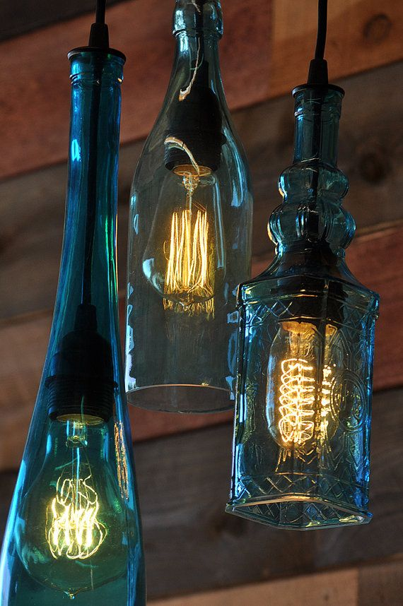 Recycled Bottle Chandelier The Harmony 3-Light by MoonshineLamp