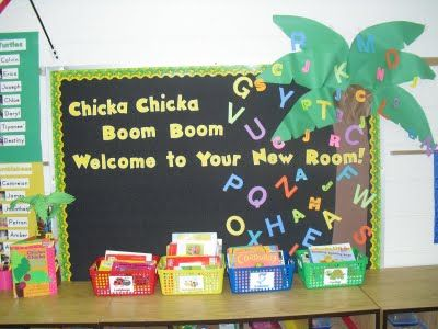 Chicka Chicka Boom Boom - Bulletin board activity for beginning of year, with kids' names on it.  Doing this next year :)