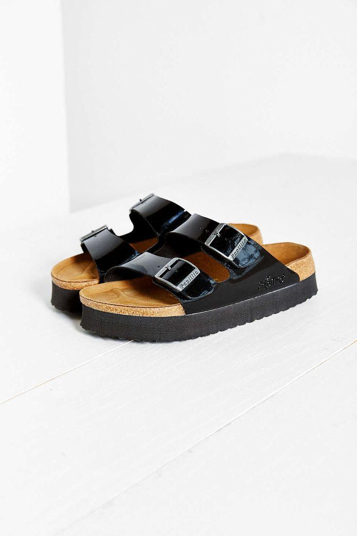 birkenstock arizona platform black leather