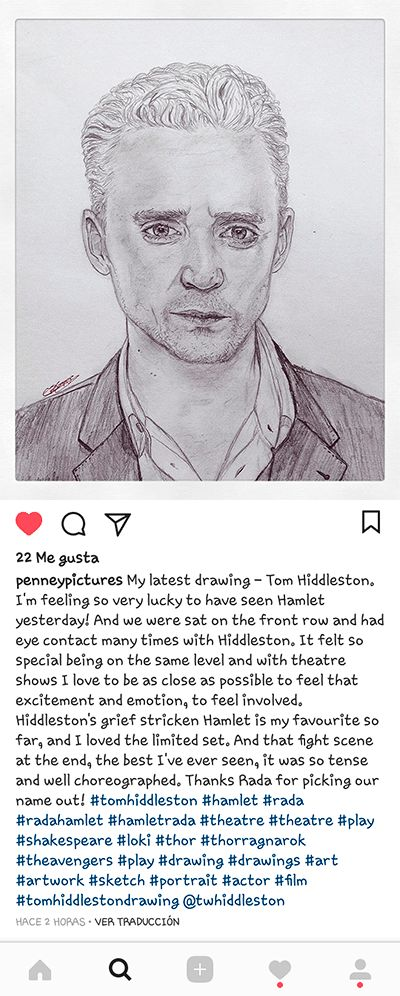 """""""Hiddleston's grief stricken Hamlet is my favourite so far, and I loved the limited set. And that fight scene at the end, the best I've ever seen, it was so tense and well choreographed."""" (https://www.instagram.com/p/BYlh2A0lLGG/ )"""