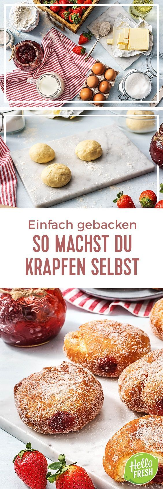 Step by Step Rezept: Krapfen selber machen   Kochen / Essen / Ernährung / Lecker / Kochbox / Zutaten / Gesund / Schnell / Frühling / Einfach / DIY / Küche / Gericht / Blog / Leicht / selber machen / backen / Berliner / Zucker / Marmelade / Karneval / süß #hellofreshde #kochen #essen #zubereiten #zutaten #diy #rezept #kochbox #ernährung #lecker #gesund #leicht #schnell #frühling #einfach #küche #gericht #trend #blog #selbermachen #backen #krapfen #berliner #donuts #marmelade #karneval #süß