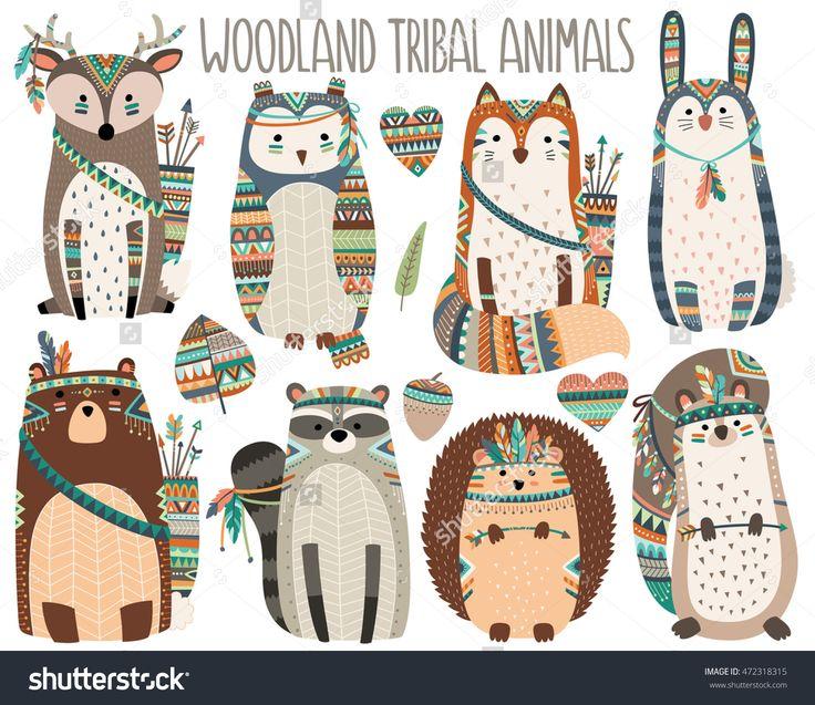 Woodland Tribal Animals Volume 3 Cute Vector Illustration