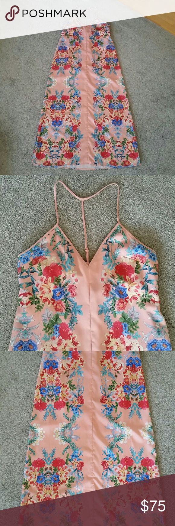 KEEPSAKE the Label Floral Peach Maxi Dress - M Like new KEEPSAKE the Label maxi. No rips, stains, holes, or wear. Pink/peach color with vintage-style flowers up the sides. Hangs a bit lose at the top (no structure). Mini lining (see pic 7). KEEPSAKE the Label Dresses Maxi
