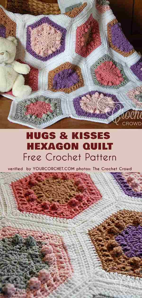 Hugs And Kisses Hexagon Quilt Free Crochet Pattern