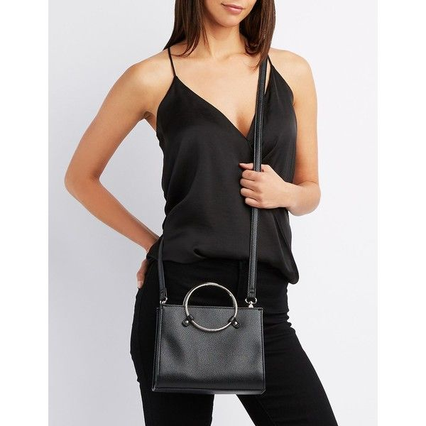 Charlotte Russe Faux Leather O-Ring Crossbody Bag ($19) ❤ liked on Polyvore featuring bags, handbags, shoulder bags, black, vegan purses, faux leather crossbody, zip shoulder bag, structured handbags and vegan handbags