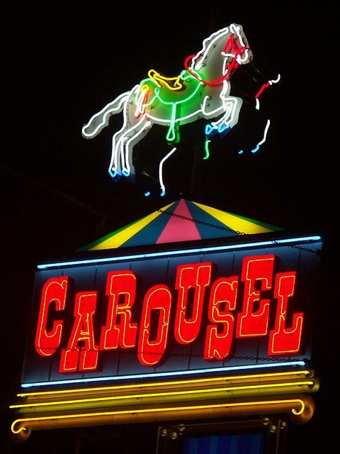 Carousel neon The neon sign of the Carousel motel. The Carousel has since been demolished and the sign was removed.  Date: 09/07/2004 Full size: 480x640