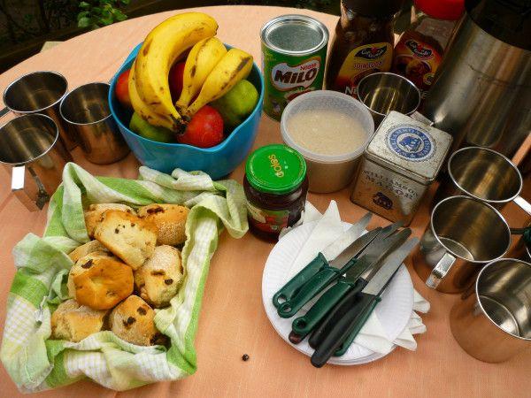 Fresh scones with jam, fruit, tea, coffee, Milo #travel #Sydney #Australia Morning tea on an Aussie Bush Adventure