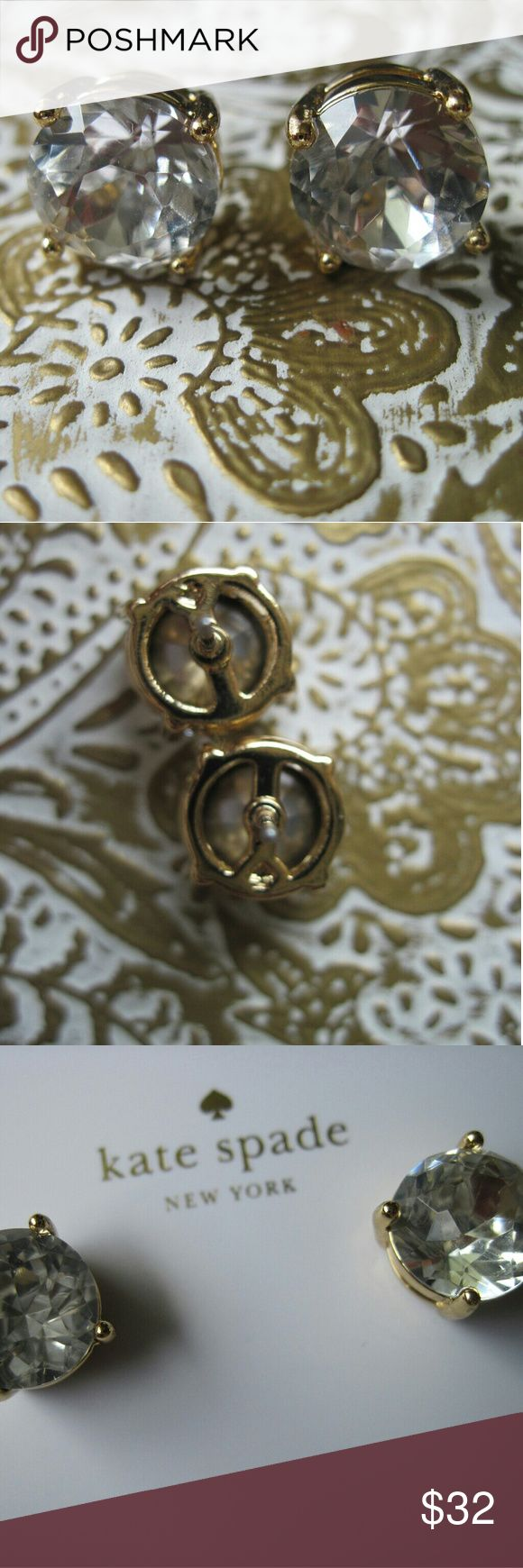 New Kate Spade Faceted Crystal Clear Gold Earrings New with tags and unworn Kate Spade faceted crystal earrings. Clear stones and gold plated with steel posts. Goes with everything! Catches the light beautifully but petite enough to not be overstated. On the earring card. kate spade Jewelry Earrings
