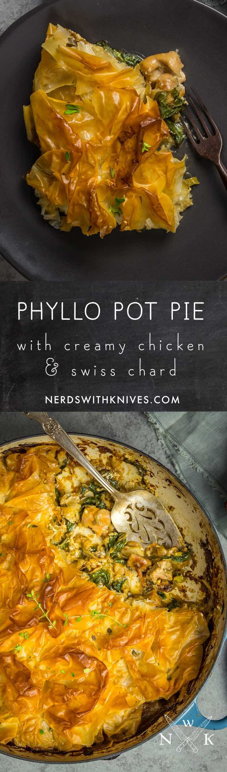 Tender chicken, caramelized onions and Swiss chard in a creamy garlic sauce, topped with a blanket of buttery, flaky, ultra-crisp phyllo dough. This is comfort food pretty enough for the fanciest dinner party, but tasty enough for a relaxed family meal.