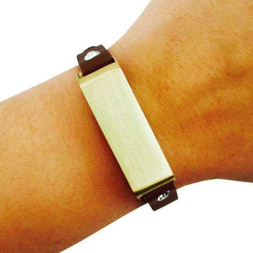 Fitbit Bracelet for FitBit Flex Fitness Trackers - The KATE Crystal Studded Single-Strap Brushed Gold and Dark Brown Premium Vegan Leather Buckle Fitbit Bracelet by Funktional Wearables.