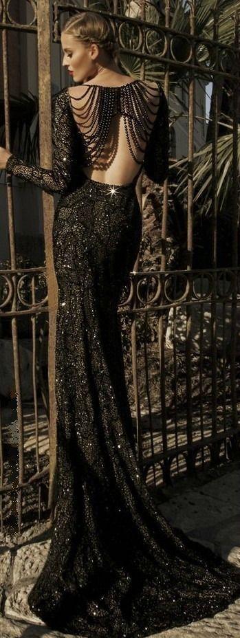 galia lahav moonstruck jupiter black evening gown long sleeves.  beaded back lace