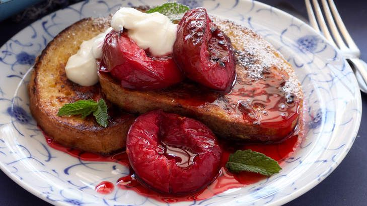French toast with sticky roasted plums. Jill Dupleix has cleverly designed the recipe so the toast captures the oozing pan juices of the warm, ripe plums.