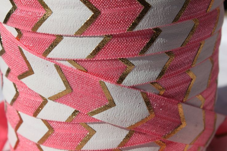 """Salmon with Gold Foil FOE 5/8"""" -Fold Over Elastic 5/8 inch by the yard...Print FOE, Headbands, Hair Ties and More!"""