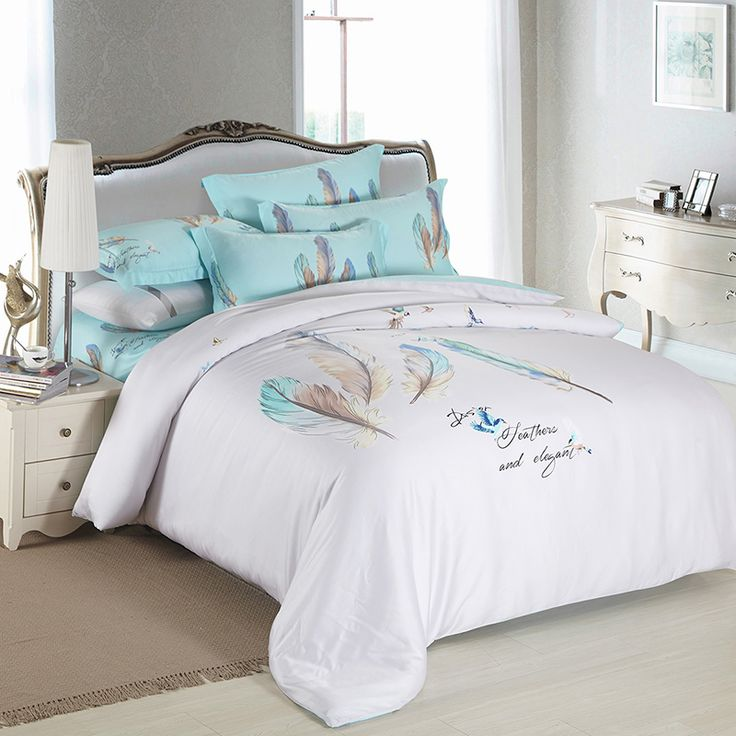 new blue feather luxury bedding sets king size queen bed set duvet cover bed sheet pillow cases silky cool feeling
