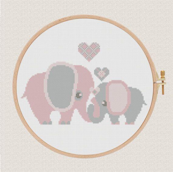 cross stitch pattern elephants with hearts от AnimalsCrossStitch
