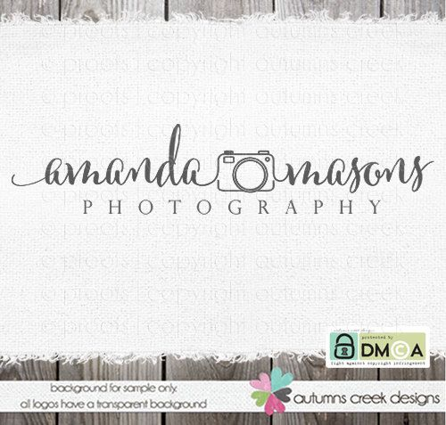 Photography Logo - Premade Logo Swirly Text Logo for photographer - Camera Logo Watermark Design