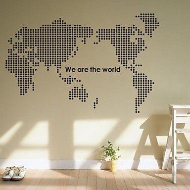 muurstickers muur stickers, wereldkaart pvc muurstickers – EUR € 19.99