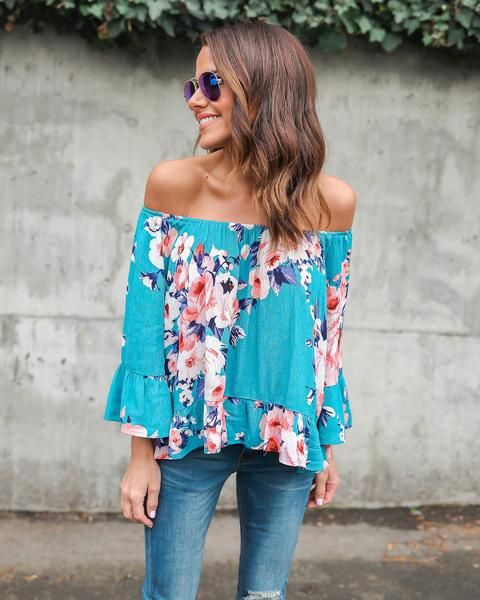 Wild Love Off The Shoulder Floral Top - Teal