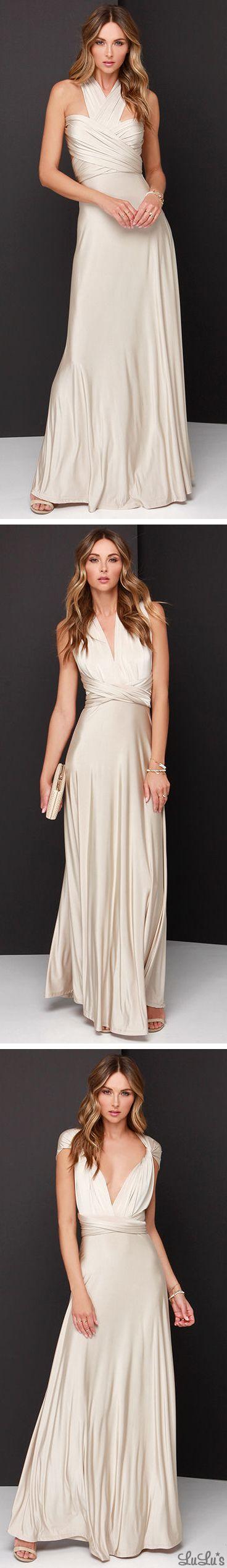 Always Stunning Convertible Beige Maxi Dress
