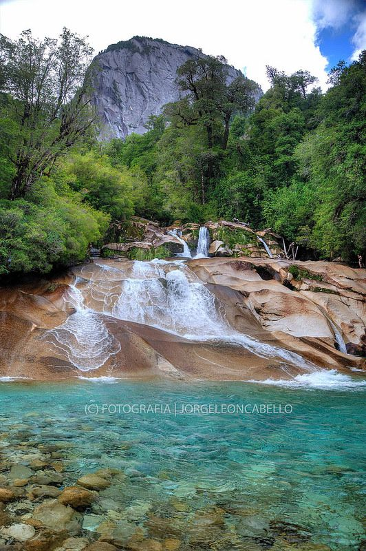 Salto del Rio La Junta - Valle de Cochamo. Patagonia, Chile