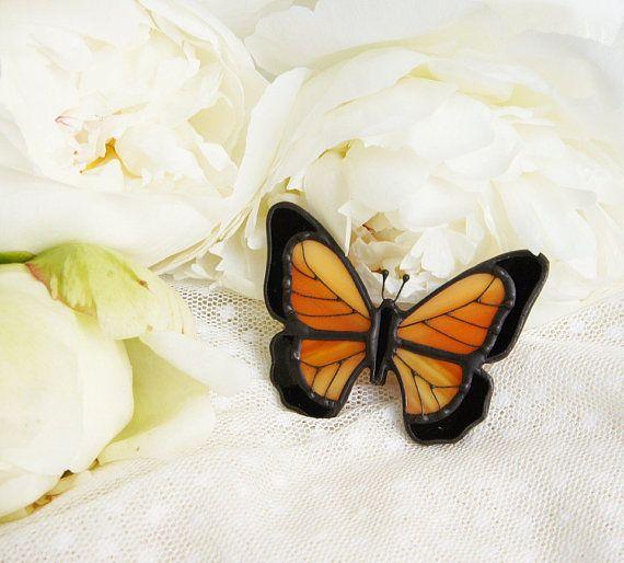 Vitrales+Broche+mariposa+broche+de+mariposa+naranja+técnica