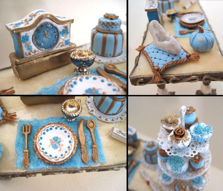 Miniature Dollhouse Cinderella, Cinderella table miniature, Cinderella miniatures,dollhouse miniature furniture, 1:12 scale, Light blue by DreamBigHandmade on Etsy