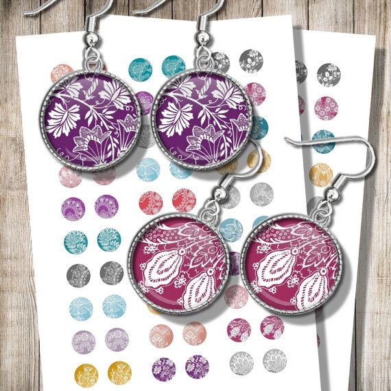 Printable Lace Earrings Images 12 mm 15 mm 18 mm Circles