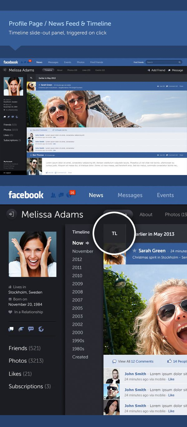 Profile page -   Facebook Redesign Concept by Fred Nerby