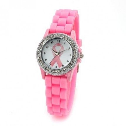 Pink Sparkle Awareness Watch
