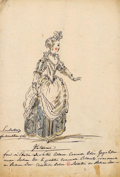 Costume d'Italienne pour Scanderberg (Antonio Vivaldi), représenté à Fontainebleau devant Leurs Majestés le 22octobre 1763 Dessins et croqu...