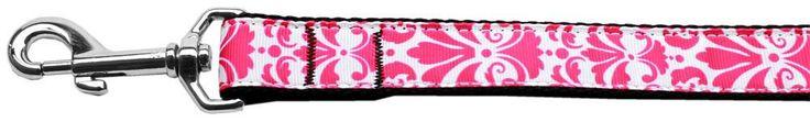 Damask Nylon Dog Leash 6 Foot Bright Pink