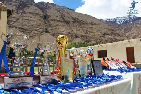 Shimshal Girls football league medals and trophies.