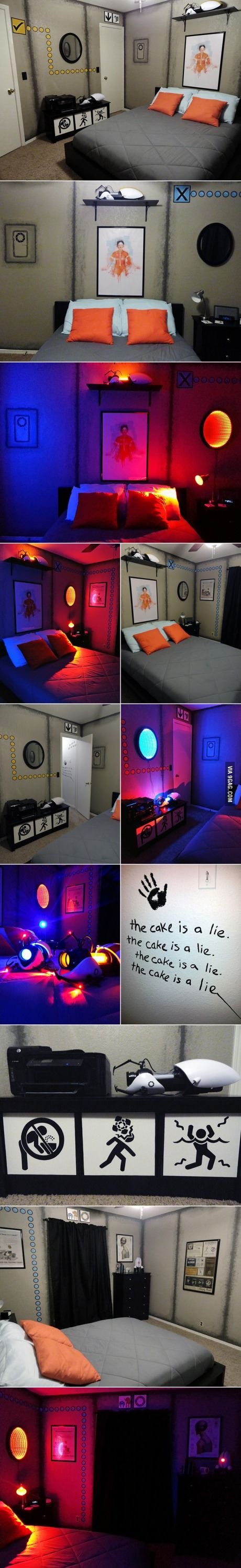 A better collage of that Portal themed bedroom. Love this! Must redecorate bedroom!!!!